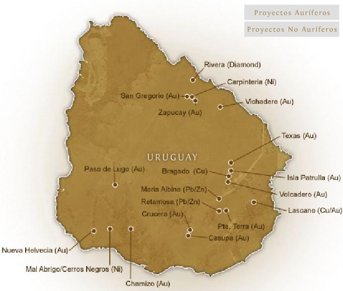 Mineria en el Uruguay proyectada 2008.