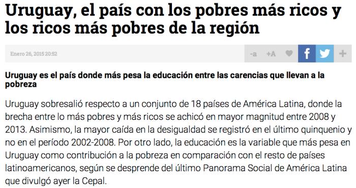 Uruguay, el país con los ricos mas pobres y los pobres más ricos